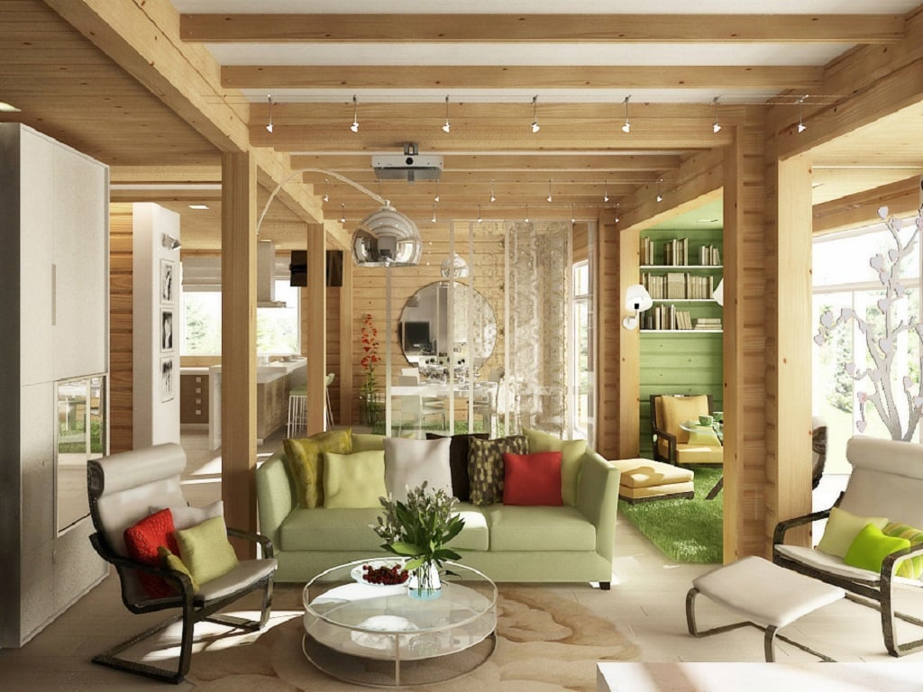 451Фото дизайн интерьера дома из клееного бруса